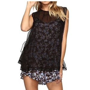 NWT Free People size S romper with sheer overlay
